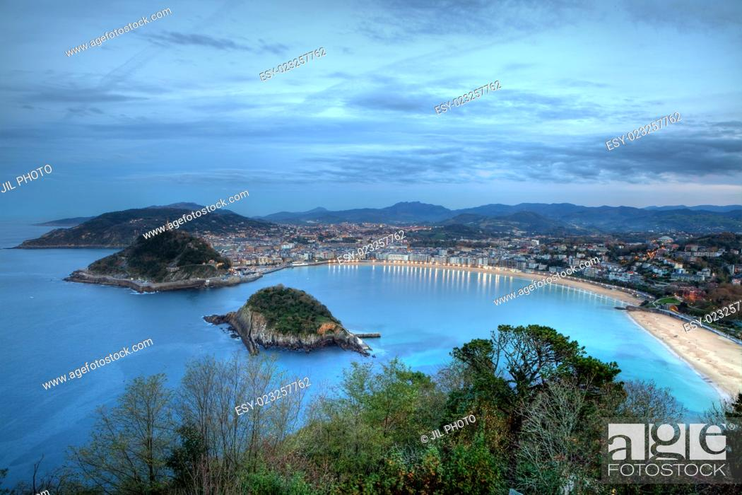 Stock Photo: La Concha Bay seen from Igeldo Mount. Donostia-San Sebastian. Basque Country. Gipuzkoa. Spain. Europe.