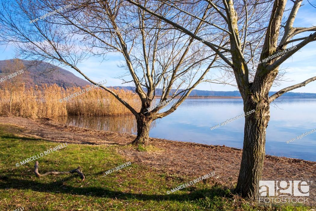 Stock Photo: view of vico lake, province of viterbo, lazio, italy.