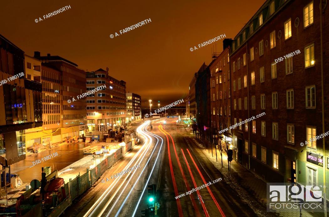 Stock Photo: Neighborhood called Hornstull at night, Stockholm, Sweden.