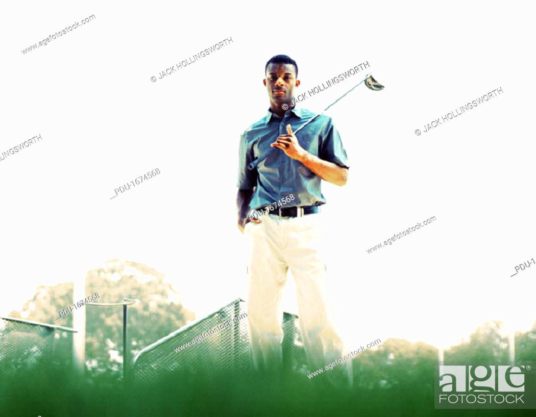 Stock Photo: African American Golfer.