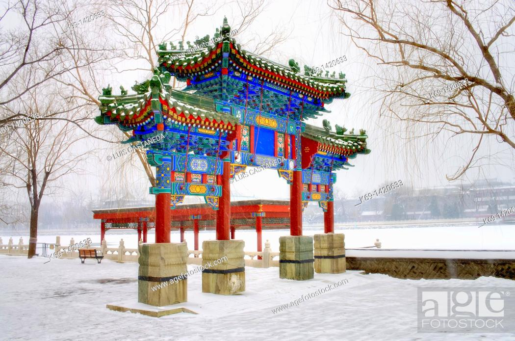 Stock Photo: Beihai Park is an imperial garden to the northwest of the Forbidden City in Beijing  Built in the 10th century, it is amongst the largest of Chinese gardens.