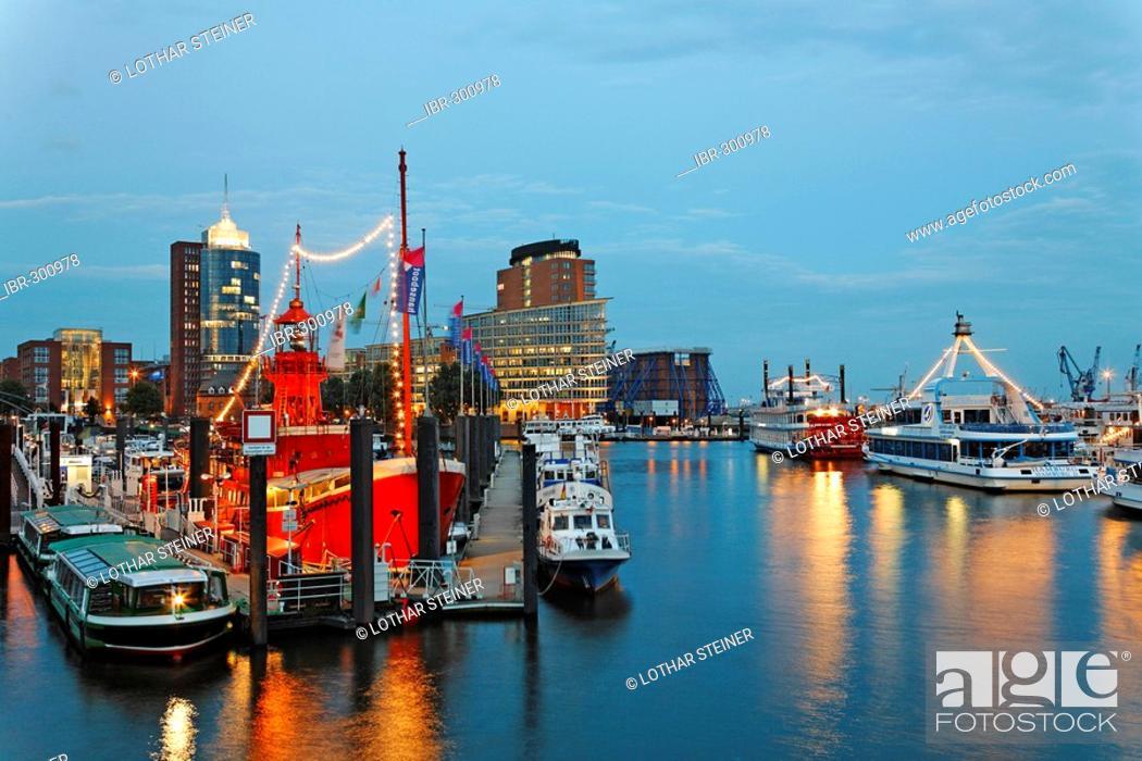 Stock Photo: Lightship in Marina, Hamburg Harbour, Germany.