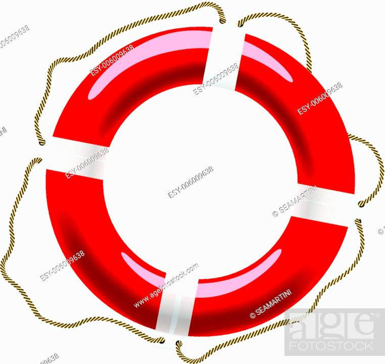 Stock Vector: Life buoy with ropes for help and safety concept design.