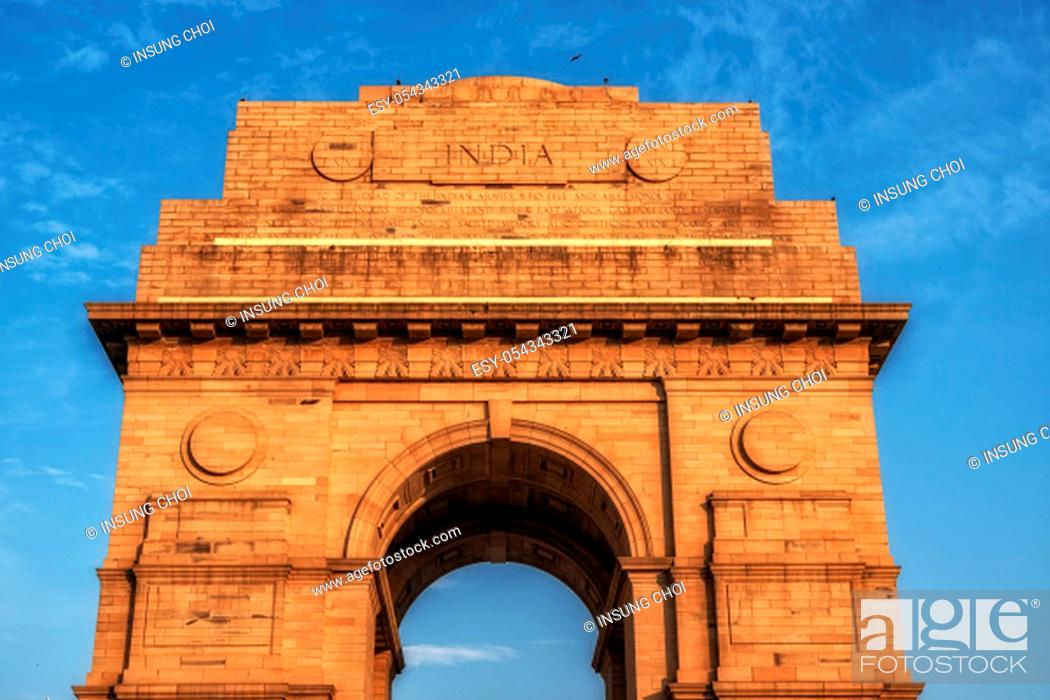 Stock Photo: india gate shining bright from the sunset light. Taken in New Delhi, India. India gate is a famous landmark in New Delhi.