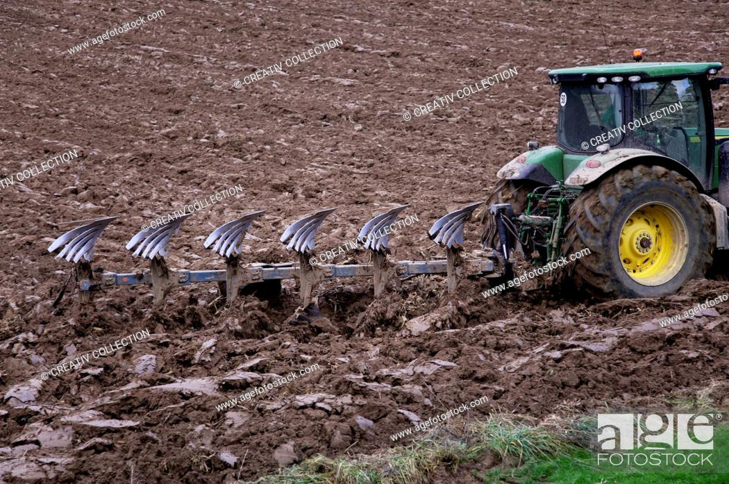 Stock Photo: Work, Car, Machine, Field, Agriculture, Farm, Agra, Brown, Floor, Vehicle, Earth, Soil, Tractor, Pawn, Farmer, Farmland, Cultivate, Plough, Motorized, Field-Work, Motor Vehicle