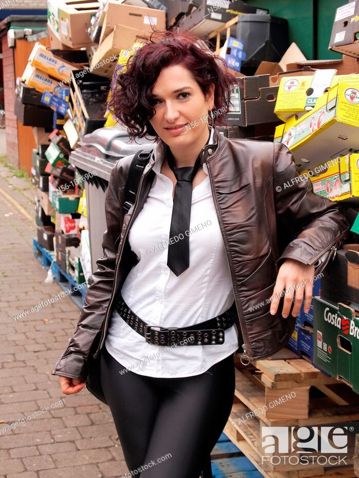 Stock Photo: woman in the market, Chiswick, London.