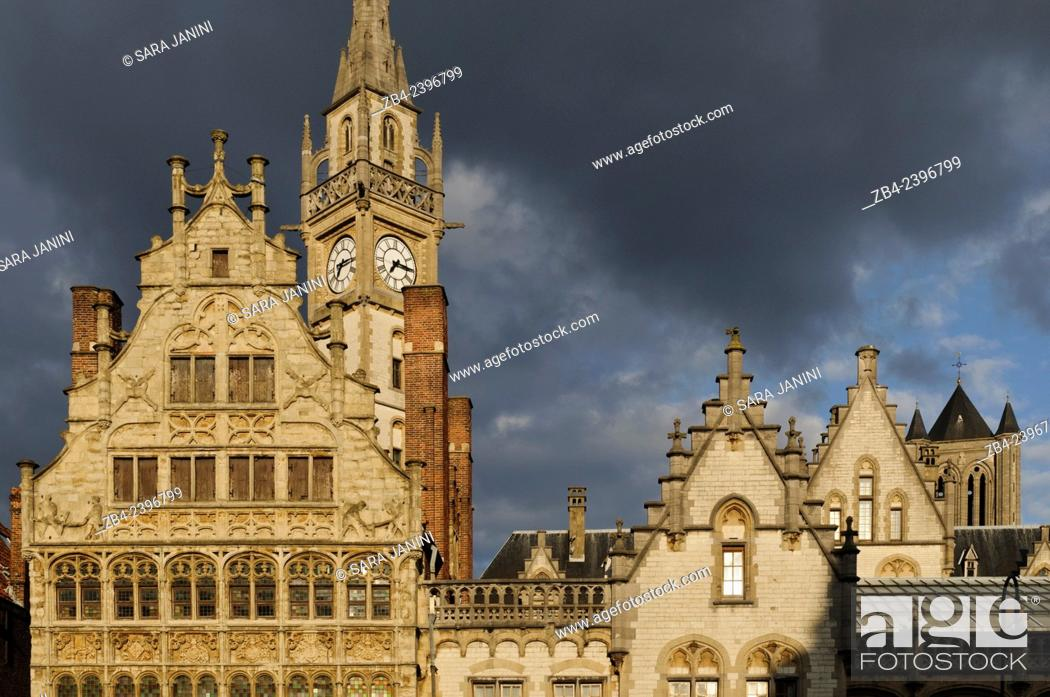 Stock Photo: Buildings of Graslei pier from the 11th century, Ghent, Belgium, Europe.
