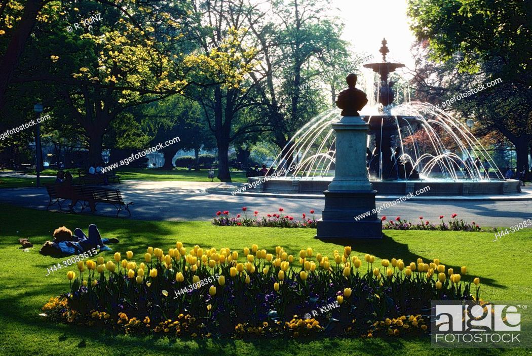 Jardin Anglais Park Fountain Flower Beds Geneva Switzerland