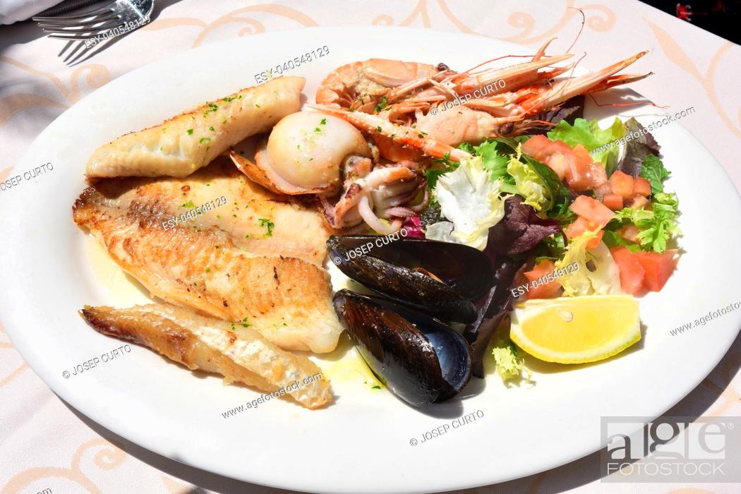Stock Photo: dish fried seafood and fish.