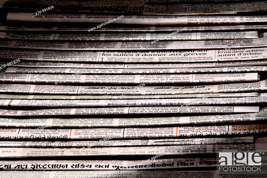 Stock Photo: Newspapers in multiple languages.