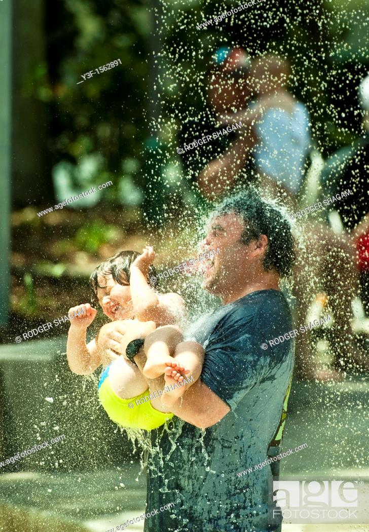 Stock Photo: Water fun in the water feature park on the banks of the Brisbane River in Brisbane, Australia.