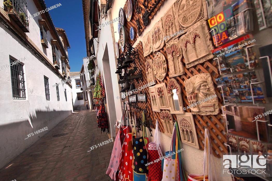 Stock Photo: Tipycal souvenirs in a city street, Cordoba, Andalusia, Spain, Europe.