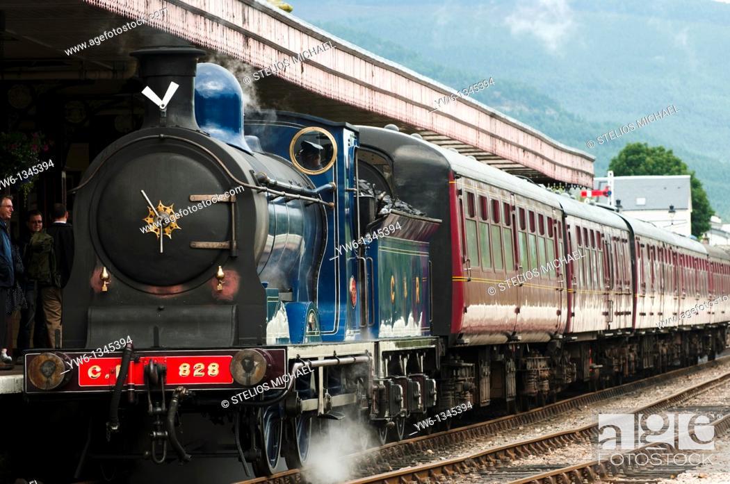Stock Photo: Steam Locamotive at Aviemore Station, Scotland.