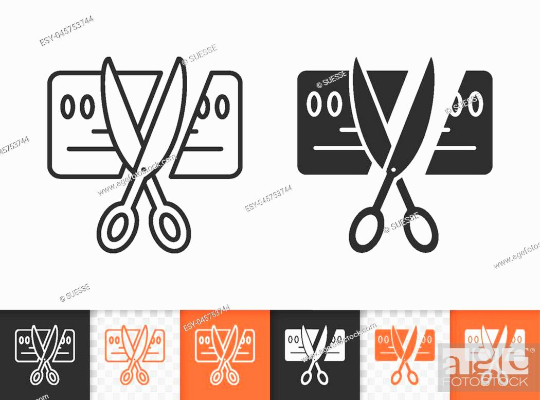 Stock Vector: Card Scissors Cut black linear and silhouette icons. Thin line sign of bankrupt. Being Insolvent outline pictogram isolated, transparent.