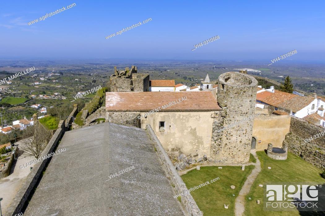 Stock Photo: View of castle of Castelo de Vide from the keep, Portalegre District, Alentejo Region, Portugal.