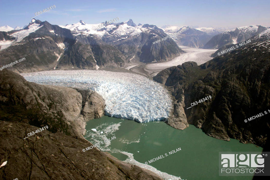 Stock Photo: Aerial view of the Le Conte and Patterson Glacier, the Stikine Ice Field, and the mountains surrounding the town of Petersburg, Southeast Alaska, USA.