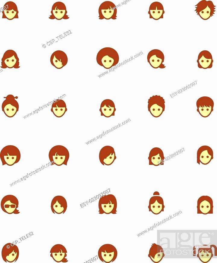 Stock Photo: Vector women faces icon set.