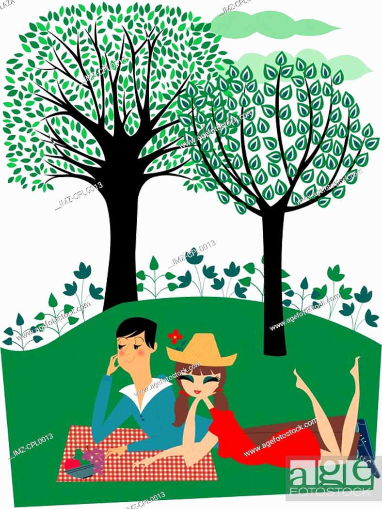 Stock Photo: A couple having a picnic together in the park.