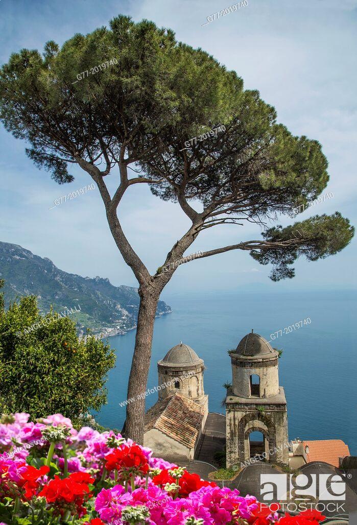 Stock Photo: Church of Annunziata and Mediterranean sea view from the gardens of Villa Rufolo, Ravello, Amalfi Peninsula, Campania, Italy.