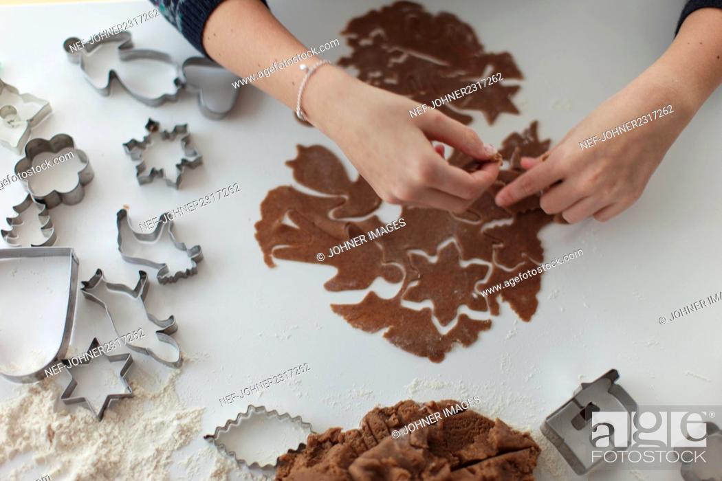 Stock Photo: Preparing gingerbread cookies.