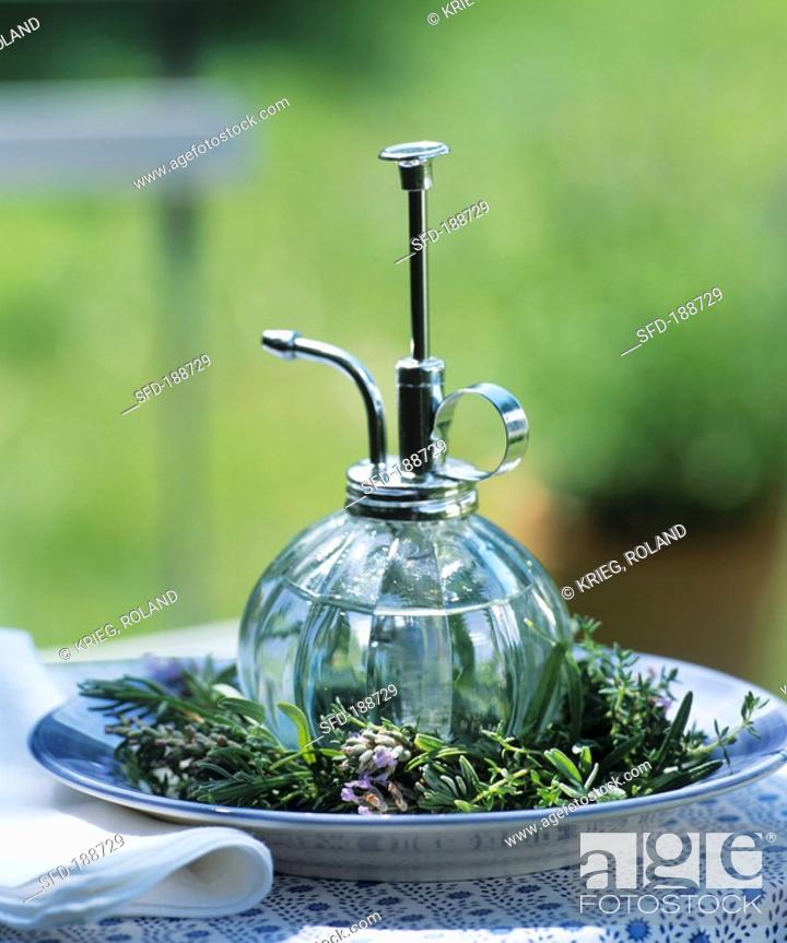 Stock Photo   Eau De Toilette On Plate With Lavender Decoration