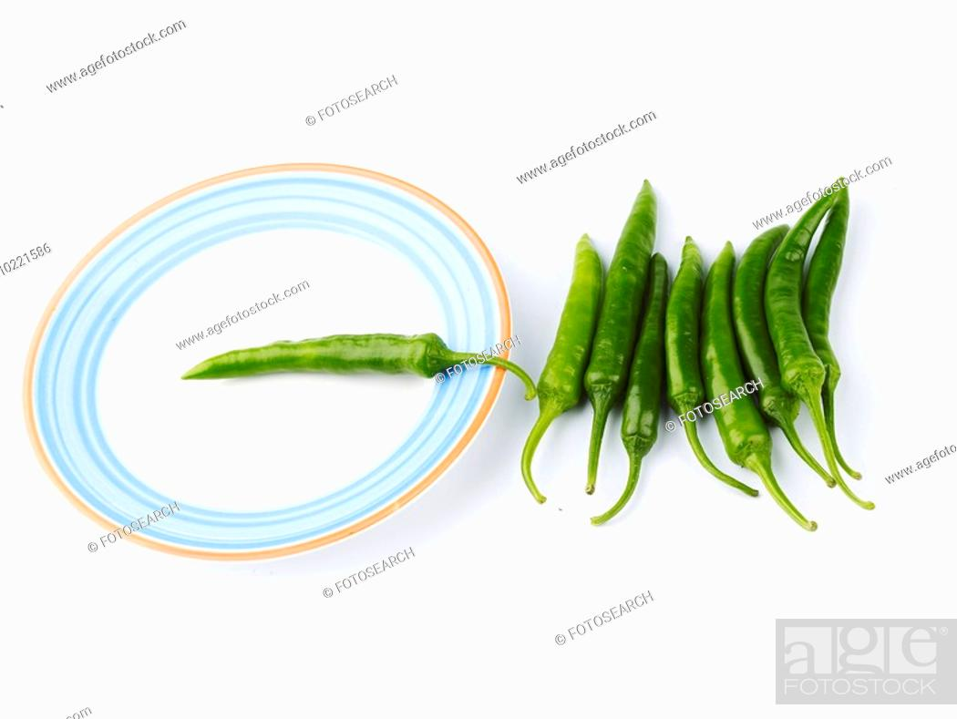Stock Photo: food material, plate, cuisine, food, green pepper, dish.