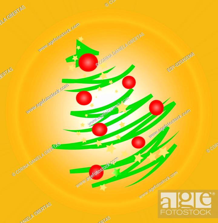 Vector: Modern stylized Christmas tree on orange background.