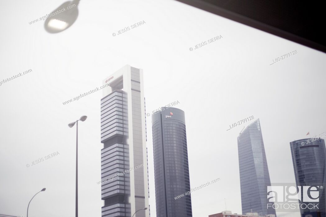 Stock Photo: Cuatro Torres Business Area in Madrid, near Chamartín station.