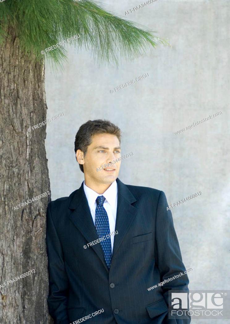 Stock Photo: Businessman leaning against tree, portrait.