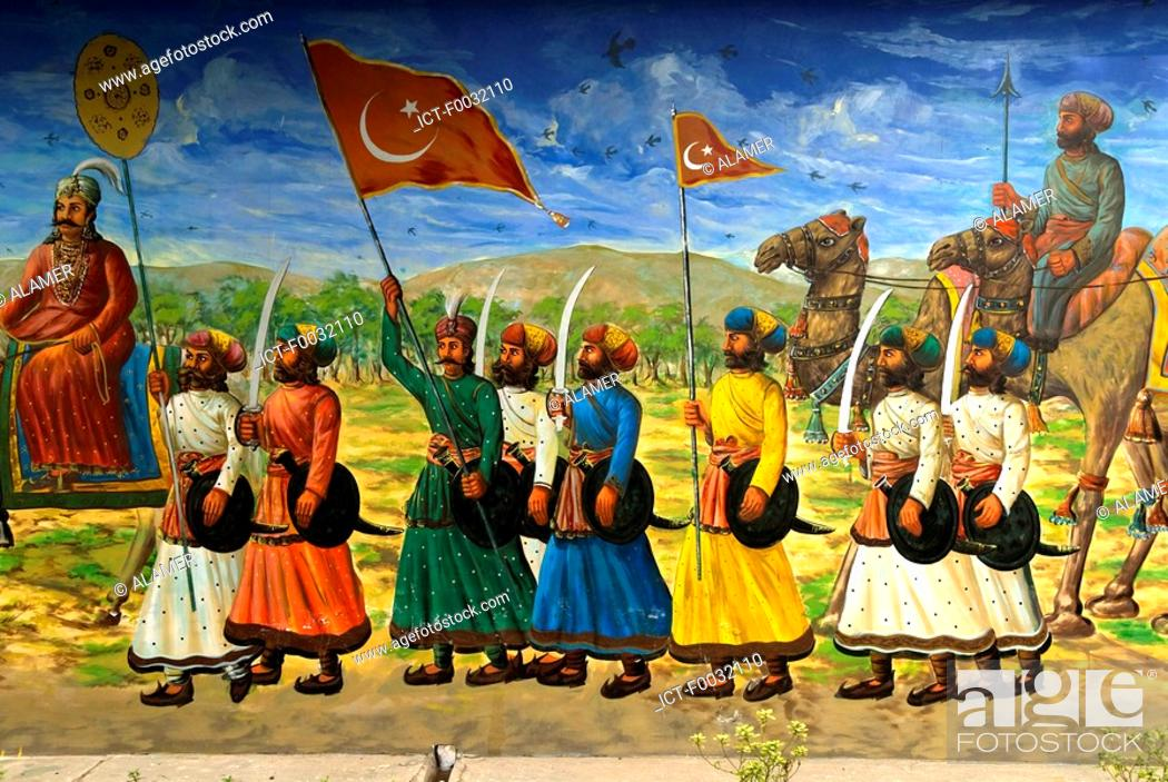 Stock Photo: India, New Delhi, painting on a wall of the storming of the town by muslims.