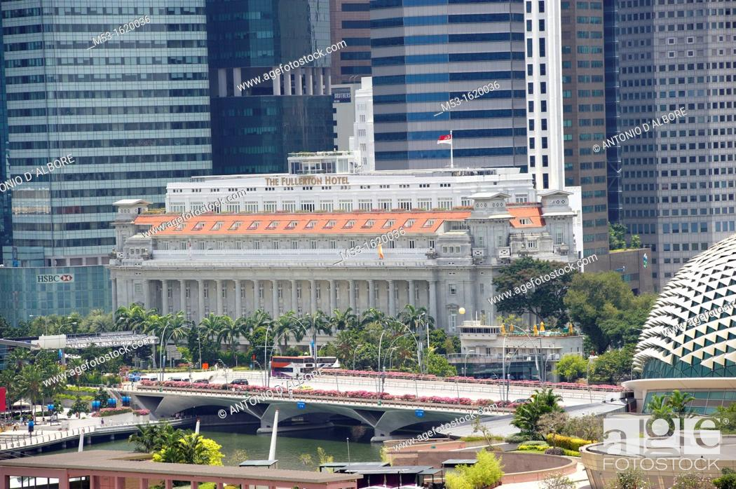 Stock Photo: The five-star luxury Fullerton Hotel in Marina Bay  The building was known in the past as The Fullerton Building and later on as General Post Office Building.
