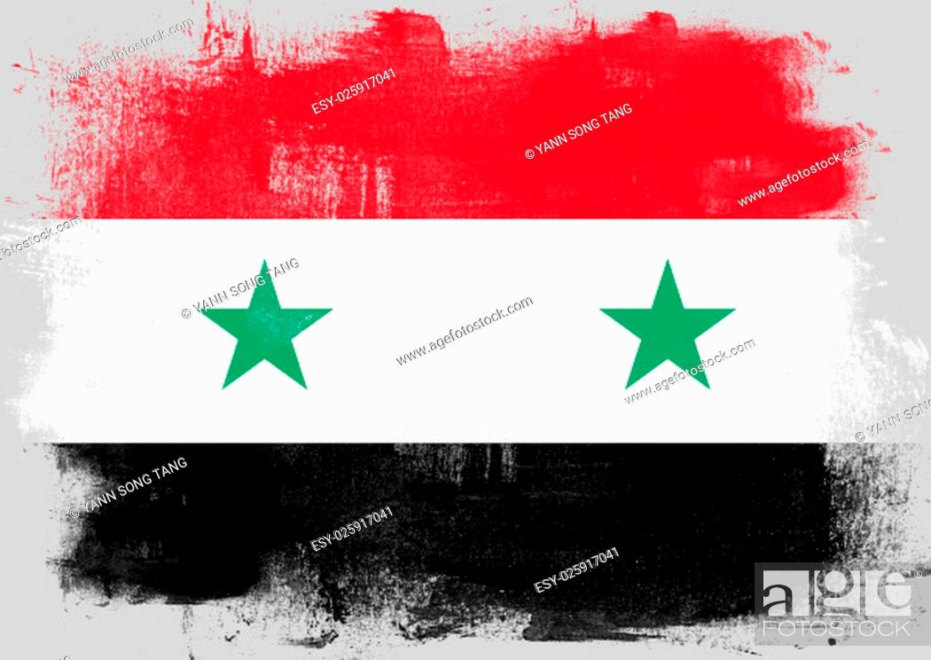 Stock Photo: Flag of Syria painted with brush on solid background,.