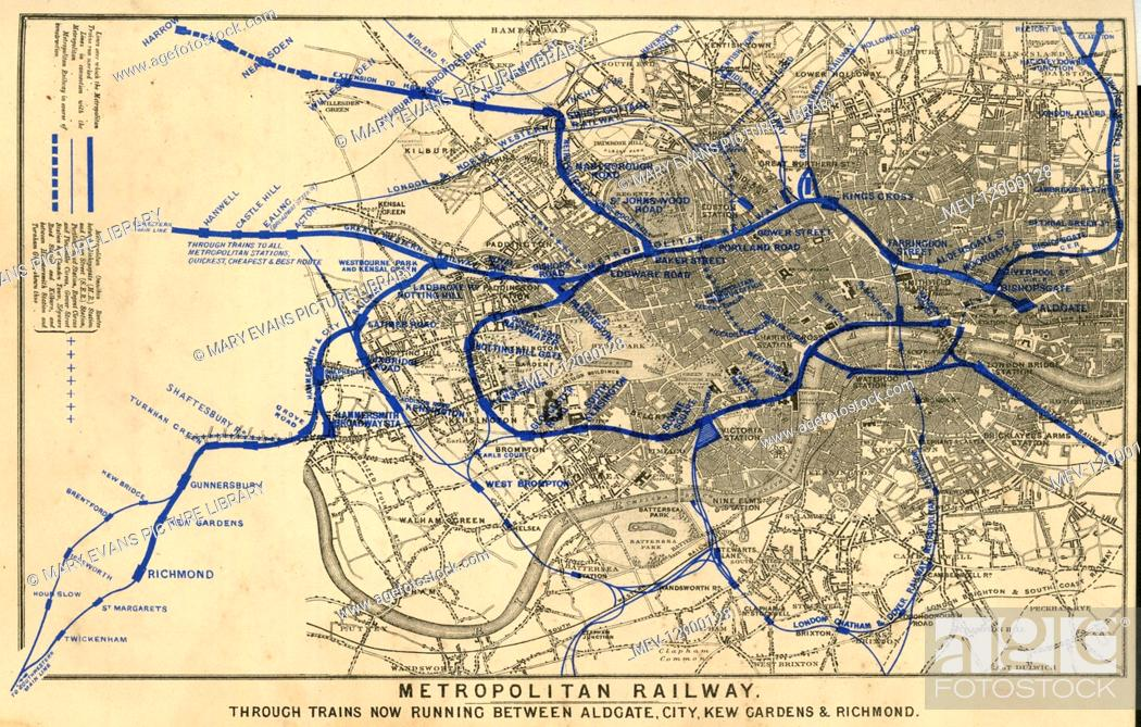 Map Metropolitan Underground Railway Serving Aldgate City Kew