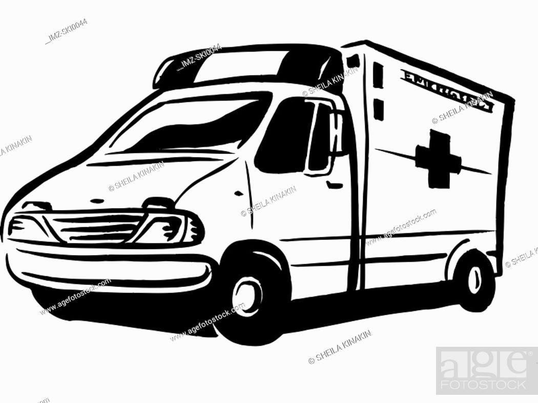 Stock Photo: Black and white drawing of an ambulance.