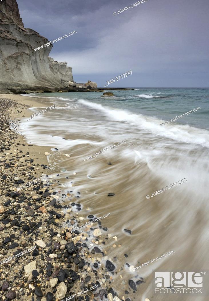 Stock Photo: Cala de Enmedio beach, Cabo de Gata Nijar natural park, Almeria, Andalusia, Spain.