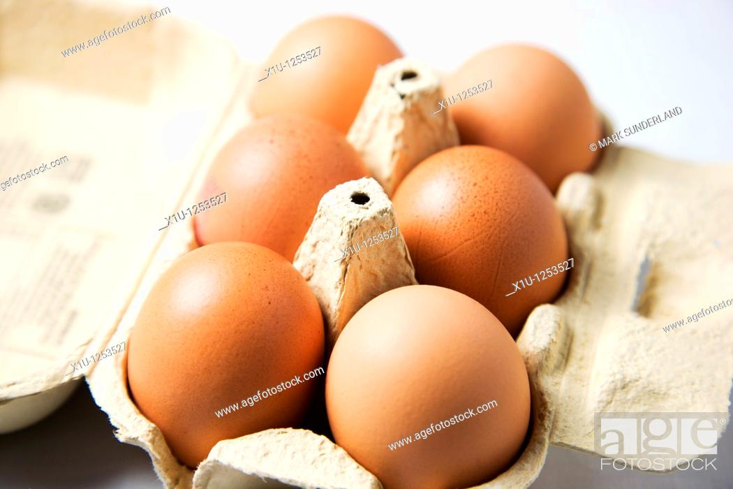 Stock Photo: Six Organic Hens Eggs in an Egg Box.