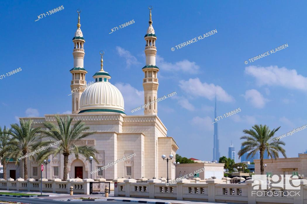 Stock Photo: A mosque with minarets in the Jumeirah district of Dubai, UAE.