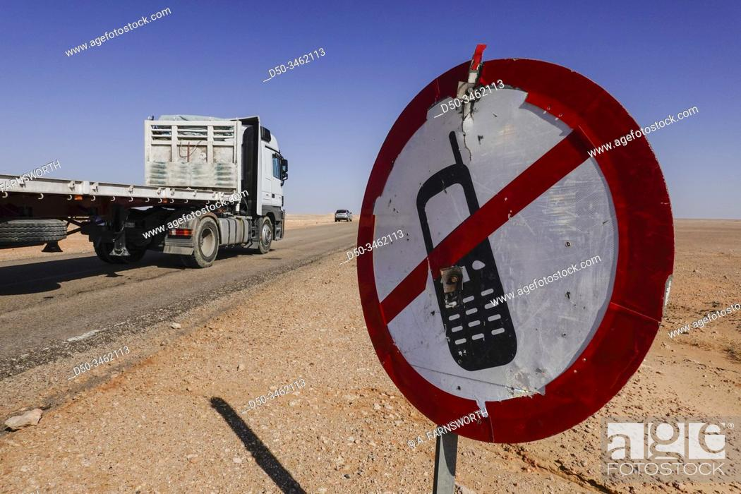 Stock Photo: Marsa Matrouh, Egypt A sign forbidding the use of mobile phones while driving.
