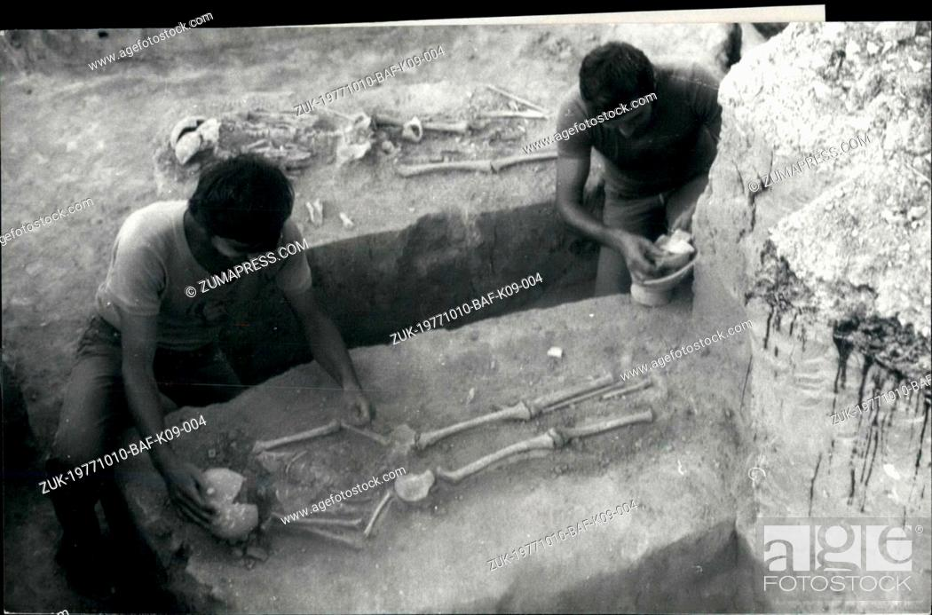 Stock Photo: Oct. 10, 1977 - New Archaeological discoveries on the old land of Dobrodja in Rumania: Enisala, in the district of Tulcea.