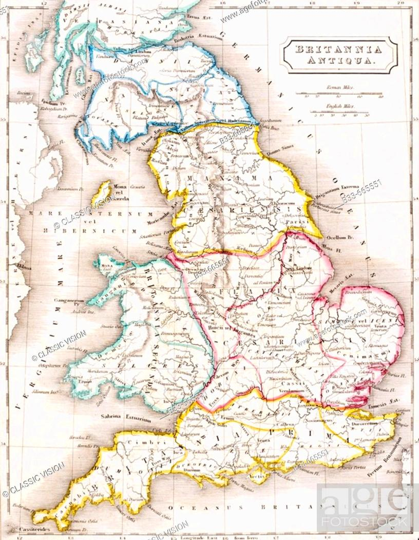 Geography Map Of England.Map Of England Britannia Antiqua From The Atlas Of Ancient Geography