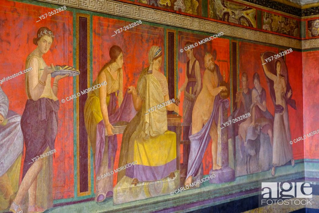 Imagen: Roman frescoes at Villa of the Mysteries, Pompeii the ancient Roman town near Naples, Campania, Italy, Europe.