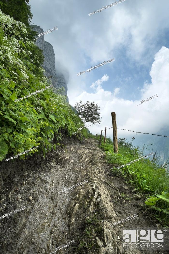 Photo de stock: Switzerland, View of Schrennenweg hiking trail to Meglisalp.