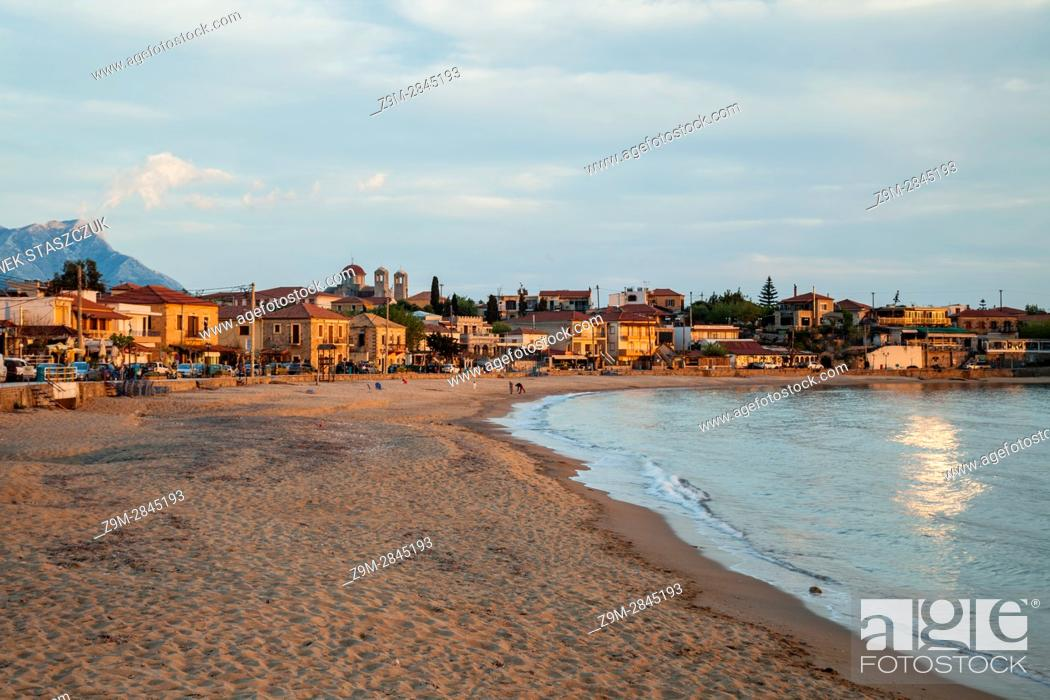 Stock Photo: Sunset in Stoupa, Messenia, Peloponnese, Greece.