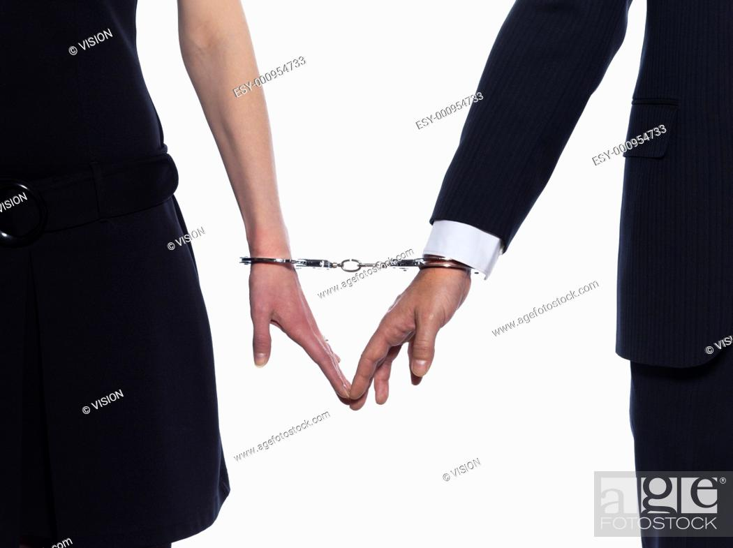 Stock Photo: beautiful caucasian couple on studio white background.