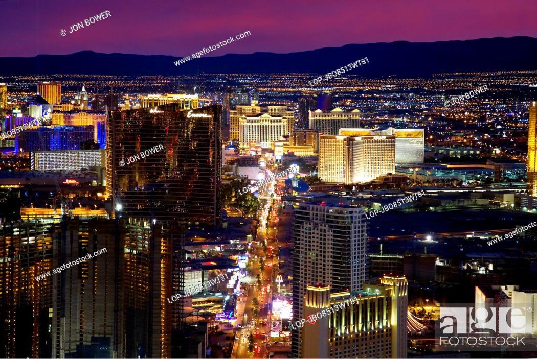 Stock Photo: USA, Nevada, Las Vegas. A view down the Las Vegas Strip at night.