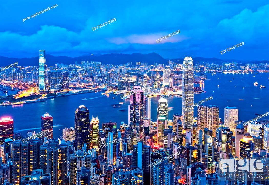 Stock Photo: Hong Kong at night.