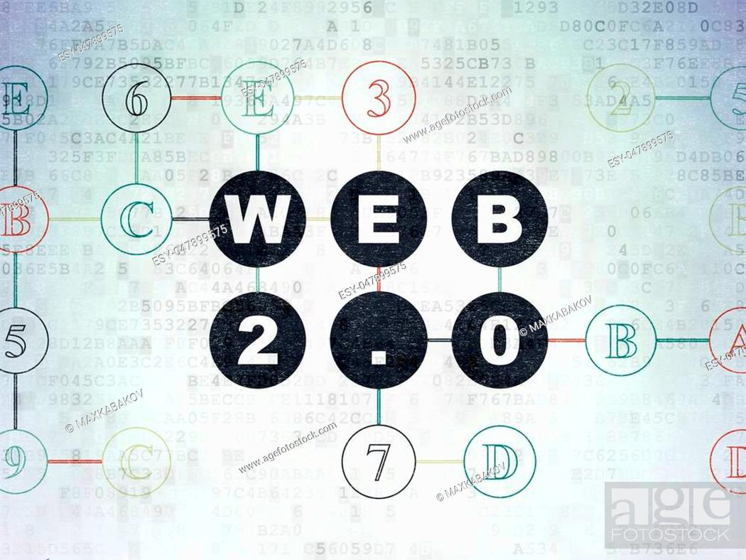 Stock Photo: Web development concept: Painted black text Web 2.0 on Digital Data Paper background with Hexadecimal Code.