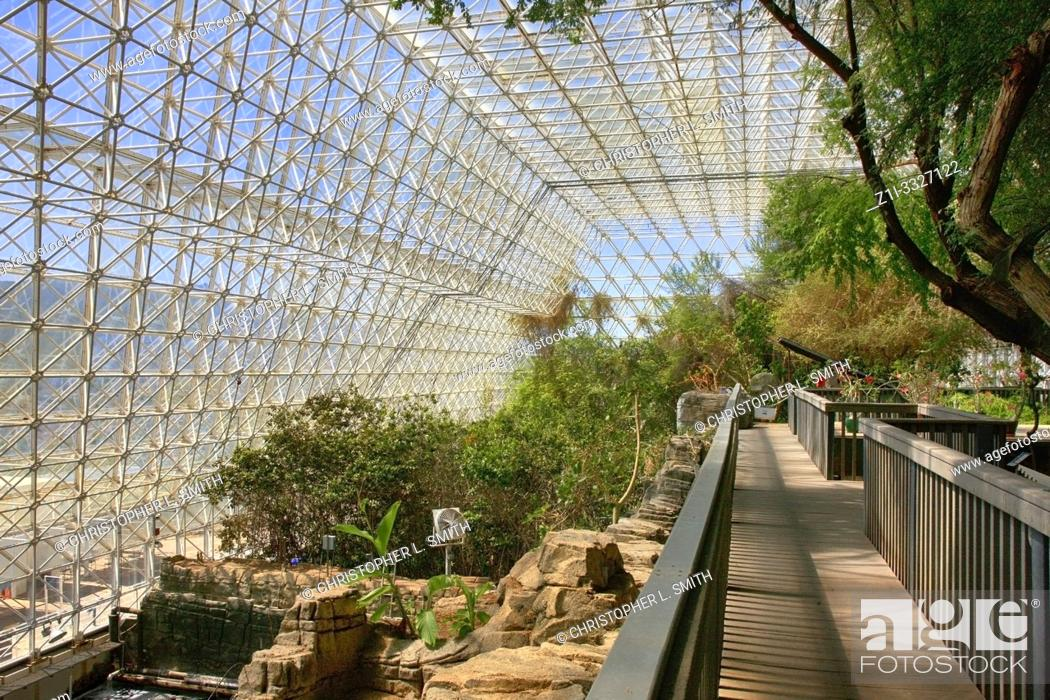 Stock Photo: Inside the Rainforest and Ocean area at Bisosphere 2, the American Earth system science research facility located in Oracle, AZ.