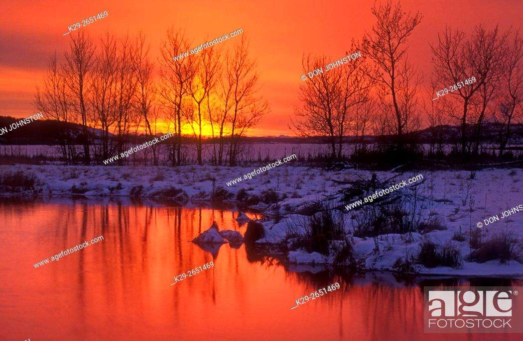 Stock Photo: Sunset over Kelly Lake with bare tree reflections in open water of Robinson Creek, Sudbury, Ontario, Canada.