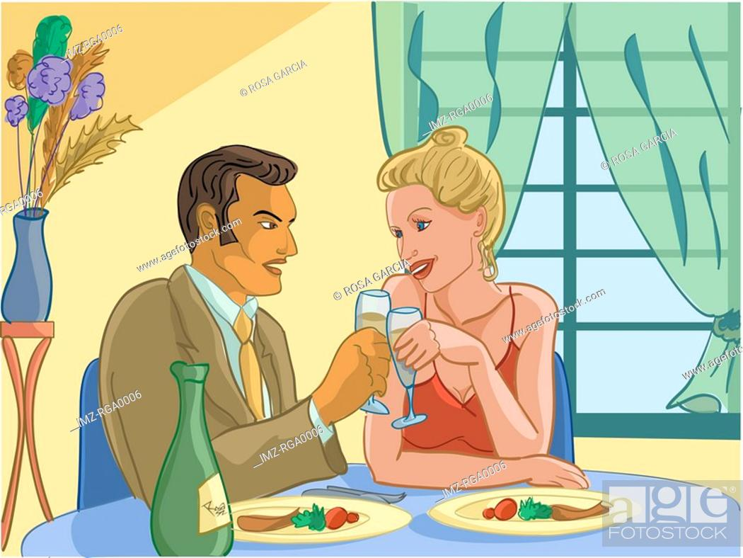 Stock Photo: man and woman on a romantic dinner date.